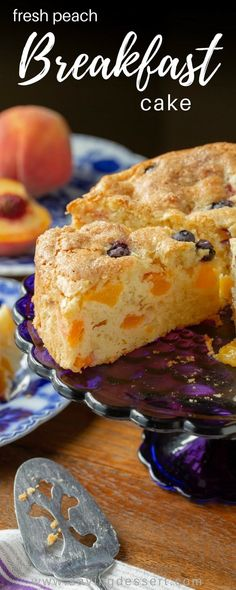 Fresh Peach Breakfast Cake an easy to make treat with a rich moist sour cream batter sweet crispy top and loads of delicious fresh peaches Perfect for breakfast brunch o. Breakfast Cake, Breakfast Dishes, Breakfast Recipes, Breakfast Ideas, Gourmet Recipes, Dessert Recipes, Desserts, Cupcake Recipes, Peach Cake