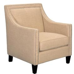 A contemporary-style upholstered armchair that's perfect for living room, dining room, and seating area use. This stylish design comes in sandy camel fabric and features a dramatic nailhead trim across the back and down the arms. Upholstered Accent Chairs, Accent Furniture, Furniture Chairs, White Furniture, Furniture Ideas, House Furniture, Modern Furniture, Colorful Chairs, Colorful Furniture