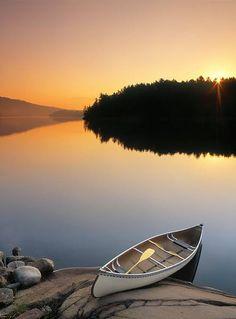 Darwin Wiggett Poster Print Wall Art Print entitled Canoe At George Lake, Killarney, Ontario, Canada Beautiful World, Beautiful Places, Amazing Places, Simply Beautiful, Canoa Kayak, Canoe And Kayak, Canoe Trip, Seen, Lake Life