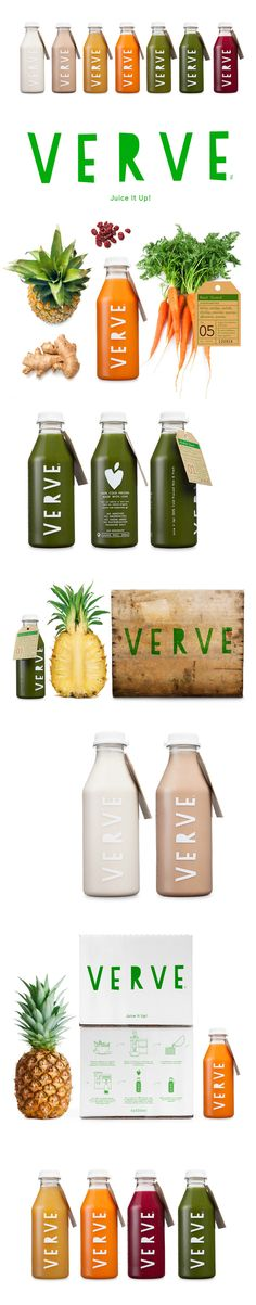 Verve Juices Packaging Design - typography is simple and primitive made by strong cut letters, inspired in the way we cut fruits and vegetables. PD
