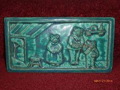 Green glazed Pewabic Pottery Art Tile Goldilocks & 3 Bears Storybook Art Pottery Tile