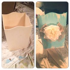 Handmade distressed trashcan :) loved the outcome! Gypsy Junkin'!