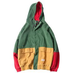 Block Patchwork Corduroy Hooded Jacket