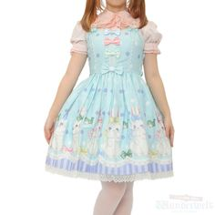 Marshmallow Bunny dress ☆ blue Brand: Angelic pretty No notation size Length: 88cm Cotton: 100% Shearing: Yes Rank B: dirt-free used clothes Used Lolita clothing shop Wunderwelt http://www.wunderwelt.jp/products/detail1670.html