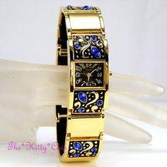 OMAX Ladies Waterproof Seiko Movt Gold Pltd Crystal Floral Bracelet Watch JES140