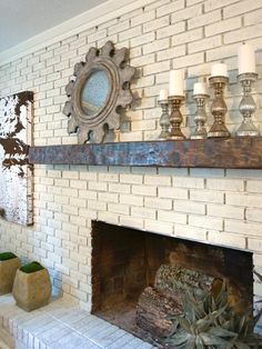 Living room with a brick fireplace living room with a brick fireplace brick fireplace facelift wallums 32 best fireplace design ideas for 2020 brick wall Wood Mantle Fireplace, Painted Brick Fireplaces, Brick Fireplace Makeover, Wood Mantels, White Fireplace, Fireplace Remodel, Fireplace Design, Fireplace Ideas, Mantles
