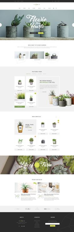 Buy Flowie - Gardening & Home Decoration Shop PSD Template by ThemeSun on ThemeForest. Flowie is a simply beautiful and delightful PSD template speacially designed for gardening and home decoration online. Web Design Trends, Ux Design, Layout Design, Design De Configuration, The Design Files, Web Layout, Page Design, Design Agency, Food Design
