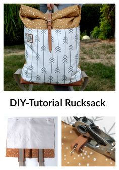DIY Tutorial Rolltop Rucksack mit Spoonflower Stoff DIY Tutorial Rolltop Backpack with Spoonflower Fabric Sewing Hacks, Sewing Tutorials, Sewing Crafts, Sewing Tips, Sewing Patterns Free, Free Sewing, Mochila Tutorial, Diy Rucksack, Tutorial Diy