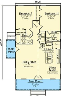 Plan W14119KB: Cottage, Narrow Lot, Country House Plans & Home Designs