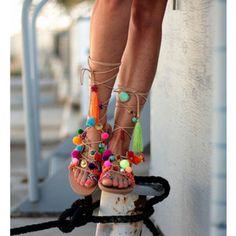 Schutz Patricia Black White Flat Tie Up Pom Pom Tassel Thong Designer Sandals