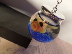 Fishbowl Necklace Handcrafted Polymer and Resin by sewciopathic