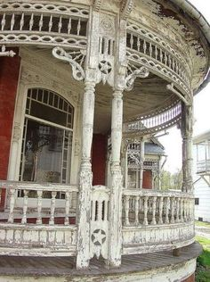 Porch Of An Abandoned House. The woodwork on this is phenomenal!