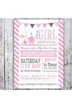 Baby shower girl - how cute are the little elephants!