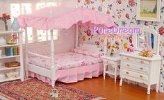 1:12 Dollhouse Miniature Bedroom Furniture CANOPY Bed Dresser ...