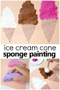 This sponge painted ice cream cone summer art project is a fun way to create different textures and designs using sponges and pom poms. Try it for your preschool ice cream theme or a fun summer art activity. #preschool #summer #artprojectsforkids #kidsactivities
