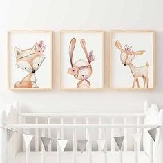 Baby, Girls Floral Woodland Nursery or Bedroom Wall Art Print Set