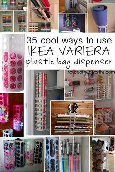 35 uses for IKEA's VARIERA plastic bag dispenser - House of Hepworths Ikea Hack storage Plastic Bag Storage, Ikea Storage, Craft Room Storage, Gift Bag Storage, Storing Plastic Bags, Plastic Wrap, Organisation Ikea, Home Organization Hacks, Plastic Bag Dispenser