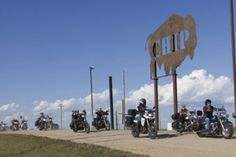 The Biker Belles ride into the Sturgis Buffalo Chip during the Sturgis motorcycle rally