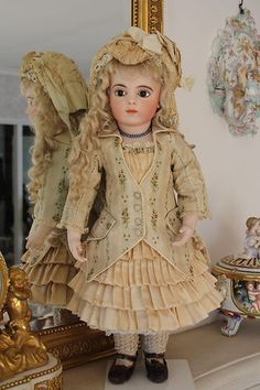 Antique Couturier Silk Doll Dress Bru Jumeau | eBay