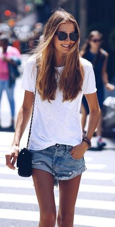 #summer #outfits White Tee + Ripped Denim Short
