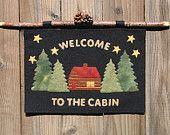 Moose Lake Cabin wool applique PATTERN. $8.50, via Etsy.