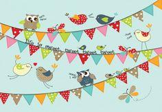 BIRDS,OWLS AND BUNTING, Martina Hogan