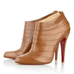 Christian Louboutin Ankle Boots 100mm Brown Leather Zip sale