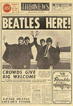 The News ~ The Beatles to Adelaide 12 June 1964.