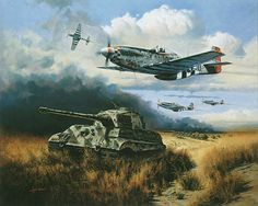 """In """"Normandy Tiger Hunt"""" a flight of P-51s of the 339th FG, under the command of their leading ace, Francis R. Gerard has started a series of strafing attacks on King Tigers. Description from kiekebusch.com. I searched for this on bing.com/images"""
