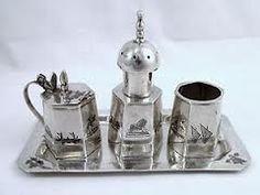 .Old Iraqi niello silver cruet set. circa 1930's قضة عراقية قديمة. قضيات بغدادية