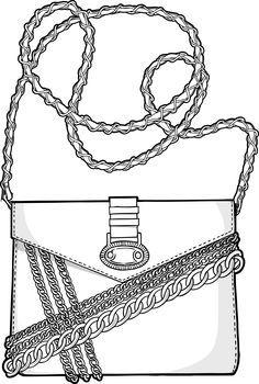 Chain reaction / nani coldine in Zusammenarbeit mit DMI Fashion Illustration Shoes, Bag Illustration, Flat Drawings, Flat Sketches, Fashion Design Drawings, Fashion Sketches, Croquis Fashion, Fashion Portfolio Layout, Drawing Bag