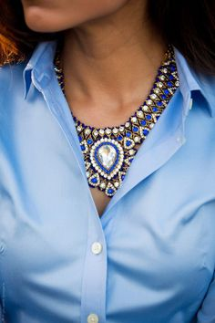 """Vintage inspired collar necklace, with drop shaped, layered crystals makes a bold statement. Necklace is 17"""" long with a 3"""" extension and lobster clasp closure."""