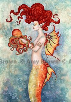 Mermaid and Octopus 85x11 PRINT by Amy Brown by AmyBrownArt. , via Etsy. (I am totally getting this print for the bathroom!!!!)