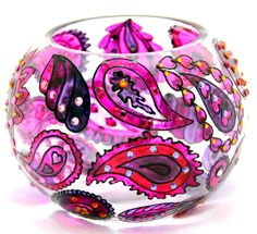 Hand Painted Glass Bowl, Lilac, Paisley