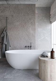 Houtblok naast bad