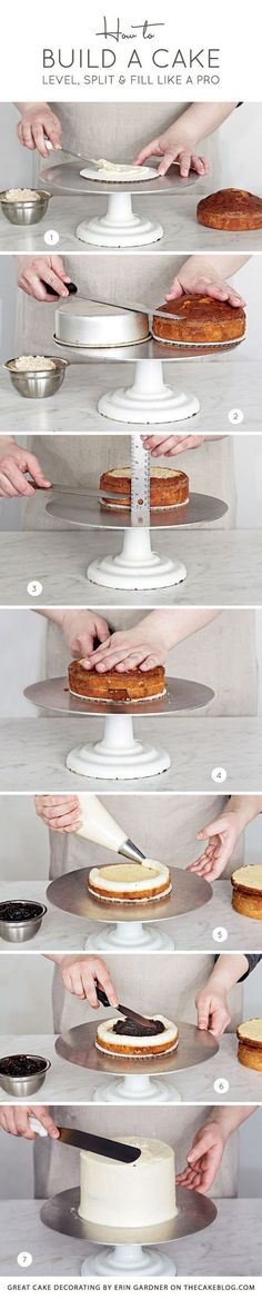 How to Build a Cake | level, split and fill like a pro | Great Cake Decorating by Erin Gardner on http://TheCakeBlog.com