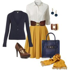 Love the outfit behind: yellow skirt, white top and brown belt