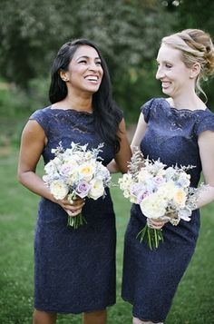 Pale yellow, purple & blue bridesmaid bouquets. Image courtsey of Lara Kimmerer Photography www.larakimmerer.com Floral design by Karla Cassidy Designs. http://www.karlacassidydesigns.com