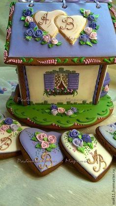 """Купить Пряничный домик """"Свадьба в Провансе"""" - васильковый, пряничный домик, пряники, сказочный домик"""