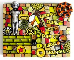 FOLLOW YOUR OWN YELLOW BRICK ROAD!  mixed media mosaic yellow brick road wizard of oz judy garland mixed media stained glass polymer clay art