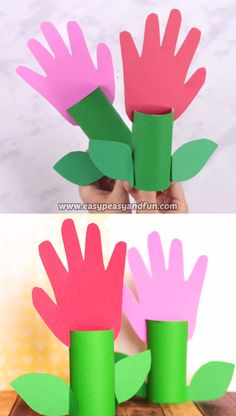 Paper Roll Handprint Flowers – Mother's Day Craft Idea Combining toilet paper rolls with handprint art we have these fun paper roll handprint flowers to share with you. Mothers Day Crafts For Kids, Spring Crafts For Kids, Fathers Day Crafts, Diy Crafts For Kids, Easy Crafts, Rainy Day Crafts, Craft Kids, Craft Free, Kids Diy