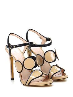 Marc Ellis - Sandalo alto - Donna - Sandalo alto in vernice con cinturino alla caviglia e suola in cuoio. Tacco 120, platform 10 con battuta 110. - NERO\CIPRIA - € 199.00
