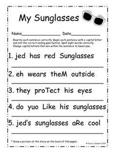 Summer Fix It Up Sentences (June) Kindergarten Reading Activities, Teaching Activities, Reading Resources, Teaching Posters, Educational Activities, Teaching Ideas, Letter Recognition, Word Work, Sight Words