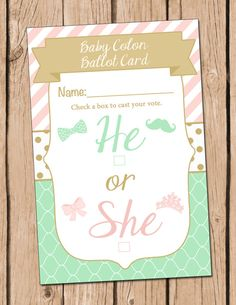 He or She Gender Reveal Party Ballot Card Pink Green by DaxyLuu