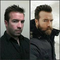 Left or Right?  #beforeandafter #beard #beards #bearded #grow #change #teambeardbrand #mustache #mensstyle #buonbeard #spikey #quiff #pomp #ToolToCool #CoolToTool