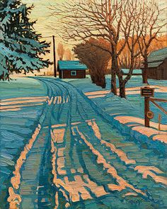 A Quebec Village Street Winter Painting By Clarence Gagnon