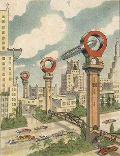 Flying Trains. Russian Illustration from the 1930s