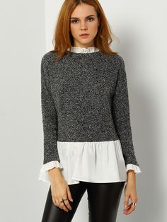Online shopping for Grey White Color Block Ruffle Blouse from a great selection of women's fashion clothing & more at MakeMeChic.COM.