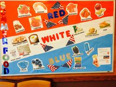 """July Bulletin Board for Dialysis. Focusing on """"Can Have"""" Foods! Red: Cherries, Raspberries, Lobster, Shrimp, Radishes, Peppers, Apple White: Sour cream, rice crispy treats, onions, eggs, cauliflower, chicken breast, Blue: Jello, Blueberries, blackberries, blue corn chips, popsicle Posted by: Jessianna Saville, MS, RDN, LD; Bryan, TX  Related"""