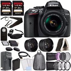 Nikon D5300 DSLR Camera with 18-55mm AF-P DX Lens (Black) + Battery + Charger + Sony 64GB Card + HDMI + Backpack Case + Remote Bundle